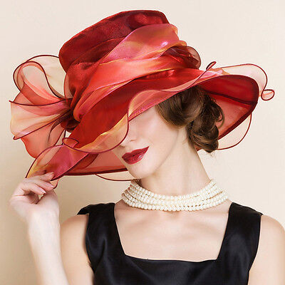 Two tone Womens Occasion Formal Kentucky Derby Wide Brim Hat Church Race A206
