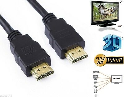 0.5M-10M Premium Gold HDMI to HDMI High Speed Lead Cable 1080p HDTV HD3D PS3 SKY