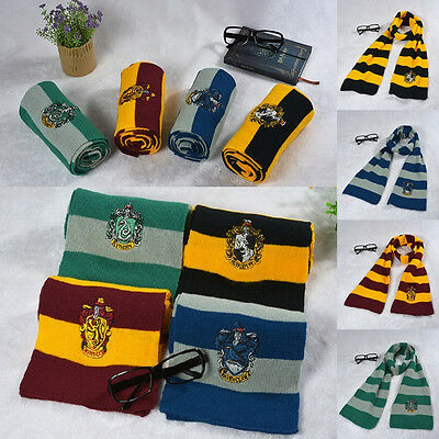 Kids Knitted Scarf Harry Potter Gryffindor Slytherin Ravenclaw Hufflepuff Wraps