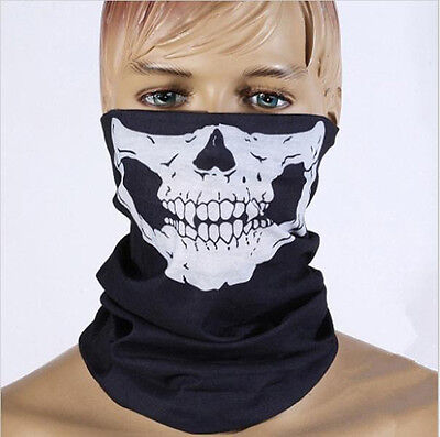 Men Black Skull Bandana Outdoor Sports Headband Seamless Neck Gaiter Face Mask