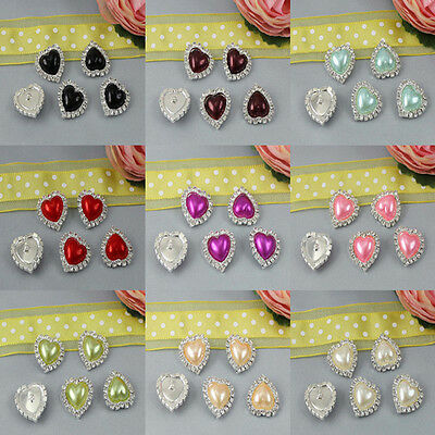 10 Pcs Heart Rhinestone Faux Pearl Silver Shank Button Sewing Craft Candy Colour