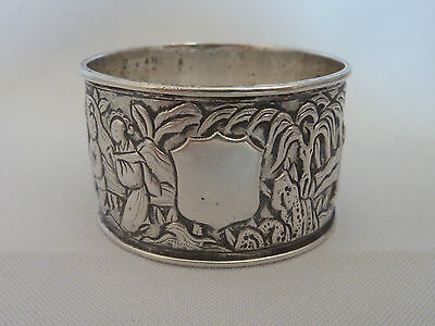 Antique / Vintage Chinese solid silver figural napkin ring - Unmarked