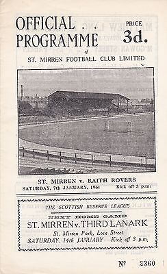 ST MIRREN v RAITH ROVERS ~ 7 JANUARY 1961