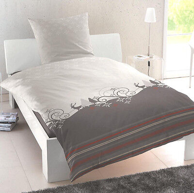 primera biber flanell bettw sche elch hirsch 173013 082 grau anthrazit 135x200 eur 19 95. Black Bedroom Furniture Sets. Home Design Ideas