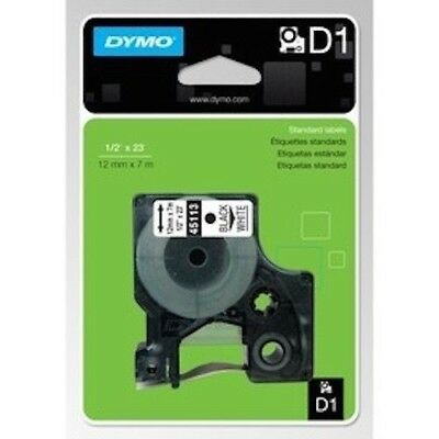 Genuine DYMO D1 LABEL 12mm x 7m - White on Black 45021