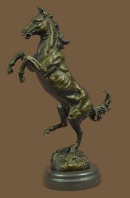Hot Cast Bronze Rearing Stallion Horse Equestrian Sculpture Statue Figure Marble