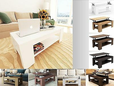 New Caspian Lift Up Top Coffee Table with Storage & Shelf - Choice of Colour