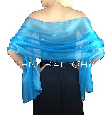 Turquoise Blue Silky Bridal Bridesmaid Wedding Prom Shawl Stole Wrap Pashmina