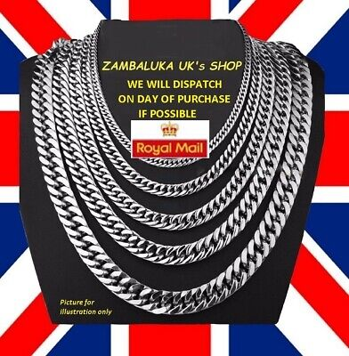 2 - 9mm Men's Stainless Steel Silver 316L Curb Link Chunky Chain Necklace - No 3