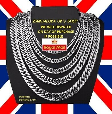 3 - 9mm Men's Stainless Steel Silver 316L Curb Link Chunky Chain Necklace - No 3