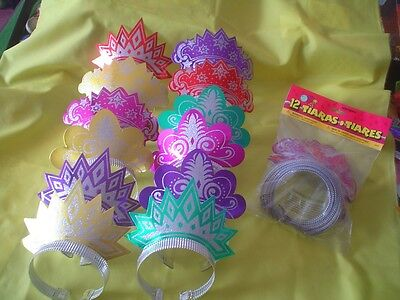 12  Sparkly Glitter Tiara 's  -  For Girl's Birthday Party - Bnip -  New