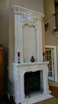 Nice Large Hand Carved Marble Estate Fireplace Mantel Zf1