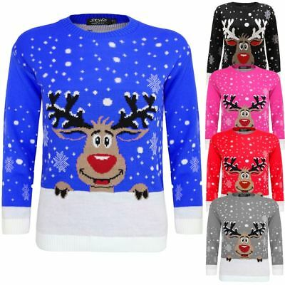 Kids Unisex Knitted Reindeer Christmas Rudolf Xmas Novelty Jumper Sweater 3-14
