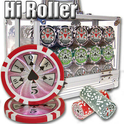 New 600 High Roller 14g Clay Poker Chips Set with Acrylic Case - Pick Chips!