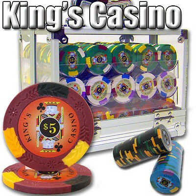 New 600 Kings Casino 14g Clay Poker Chips Set with Acrylic Case - Pick Chips!