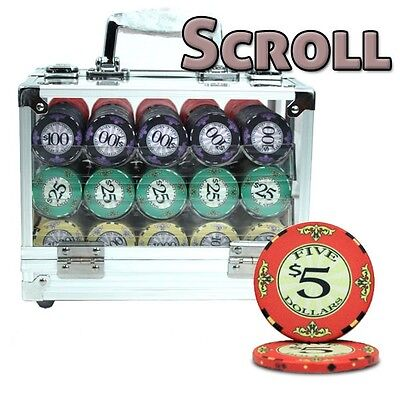 New 600 Scroll 10g Ceramic Poker Chips Set with Acrylic Case - Pick Chips!