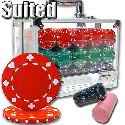 New 600 Suited 11.5g Clay Poker Chips Set with Acrylic Case - Pick Chips!