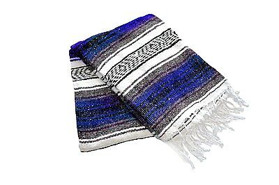 #11 Traditional Mexican Travel Blanket Dark Blue Yoga Accessories High Quality