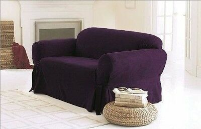 Chezmoi Collection Soft Heavyweight Micro Suede Slipcover Sofa/Couch Purple