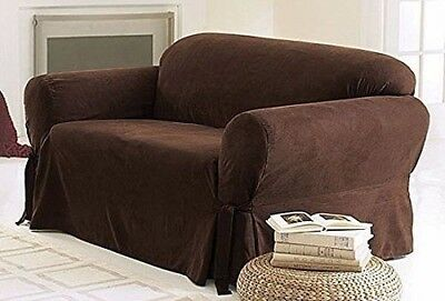 Chezmoi Collection Soft Micro Suede Slipcover Sofa/Couch, Chocolate Brown