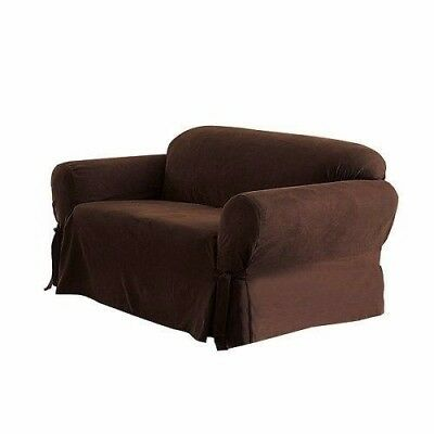 Chezmoi Collection Soft Micro Suede Slipcover Loveseat, Chocolate Brown