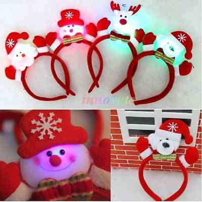 Adult Kids Christmas Xmas Novelty LED Light Headband Deer Santa Snowman Pattern