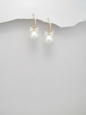 Ladies Gift Gold Plated Brass Simulated White Pearl Drop Dangle Hook Earrings