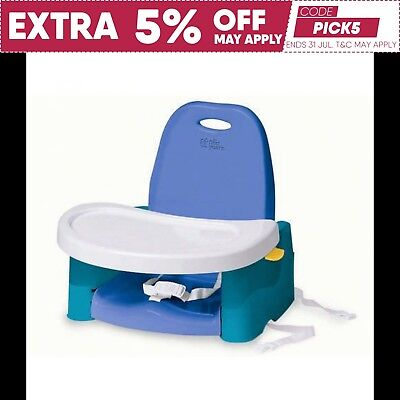 Booster Seat with Swing Tray Blue + White - Baby Portable High Chair Y3368