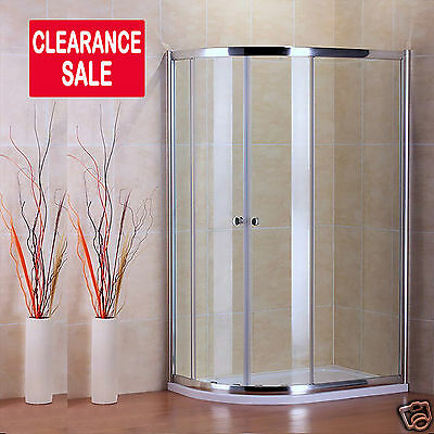 Chrome Walk In Quadrant Shower Enclosure Cubicle Glass Door + Stone Tray Bb