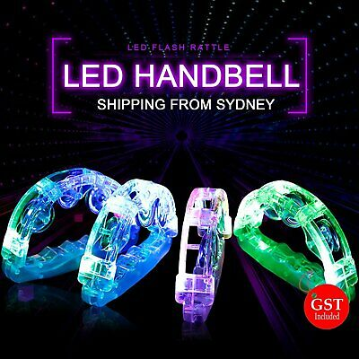 4 X LED Handbell Flashing Light Tambourine Toy for Festival Party Cheering