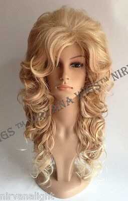Long Curls/Waves Drag-Farrah Black, Blonde, Burgundy, White, Pink, U Choose Wig