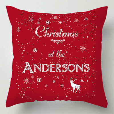 Personalised Christmas at the family name word quote chrismtas cushion / pillow