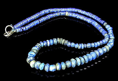 Exquisite Old Collection Antrique Lapis Spindle Whorl Near Eastern Bead Necklace