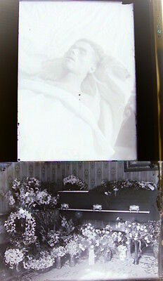 Pair of Antique 5x7 Post Mortam Man Glass Negatives Early 1900's.. Look!