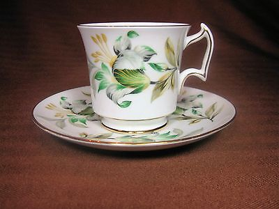 Royal Chelsea White Bone China Footed Teacup and Saucer Flowers Gold Trim