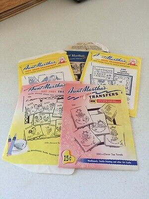 Lot of 5 Vintage Packets of Hot Iron Transfers. Aunt Martha's