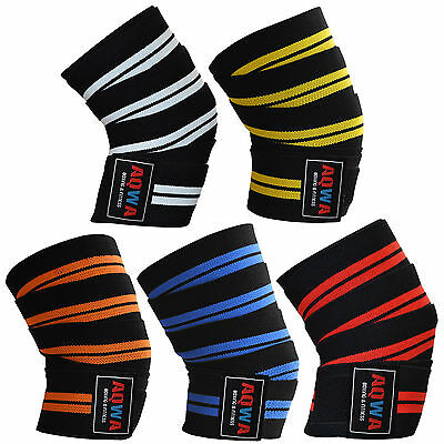 "AQWA Knee Wraps Power Weight Lifting Gym Bandages Straps Guards Pads 78"" Long"
