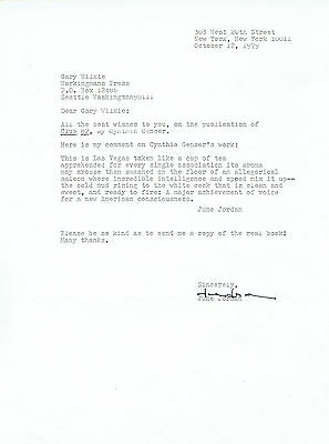 "Caribbean American poet. LETTER SIGNED BY JUNE JORDAN a blurb for ""Club 82"""