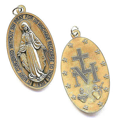 """Miraculous (Lady of Grace) Large Silver Plated Medal 3"""" x 1-7/8""""  - Italy"""
