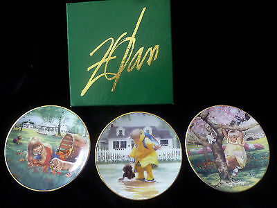 """Group of 3 MINI COLLECTOR 3-1/2"""" PLATES David Zolan w/ authentication in box"""