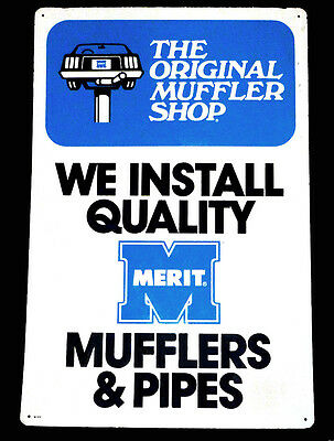 "1970's The Original Muffler Shop Merit Brand Mufflers Pipes 36""t Metal Wall Sign"