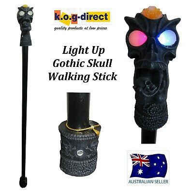 1 Meter Light Up Gothic Skull Walking Stick Collectable - Skwalkli D