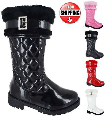 New Girls Patent Pu School Quited Warm Winter Flat Mid Calf Kids Buckle Boots