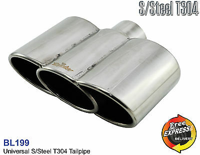 Exhaust tip triple oval Tailpipe trim Universal SSteel Triple Extreme Look BL199