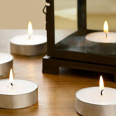10 Pcs Wax Unscented Tealight Candle White Tea Light Candles for Wedding Party