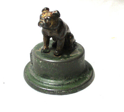 WOOF! Wind-up BULL DOG TAPE MEASURE; Original ANTIQUE c1800's figural METAL