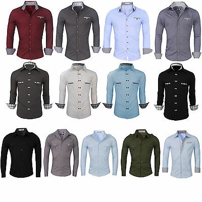 Mens Slim Fit Shirts Long Sleeve Luxury Formal Casual Designer Cotton Dress