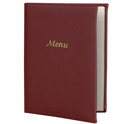 Burgundy A5 Menu Cover PVC Padded | Two Pages Restaurant Food Wine List Covers