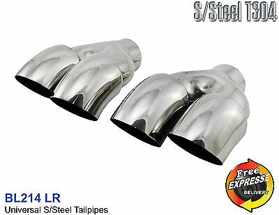 Exhaust tips set round dual blow down diesel curved tailpipes trims duplex quad