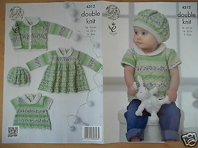 """Baby Dress Cardigan  & Hat Knitting Pattern For Drifter 14-22""""  King Cole 4312"""
